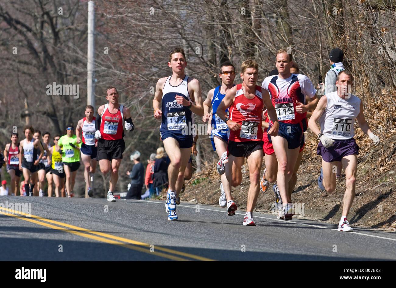 Male Marathon Runners At Boston 2008 4th Km