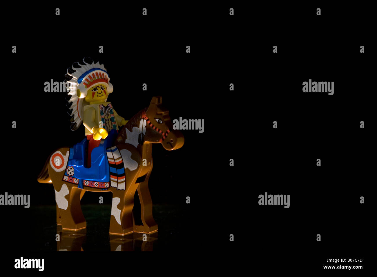 Lego Indian Chief sitting on Horse - Stock Image