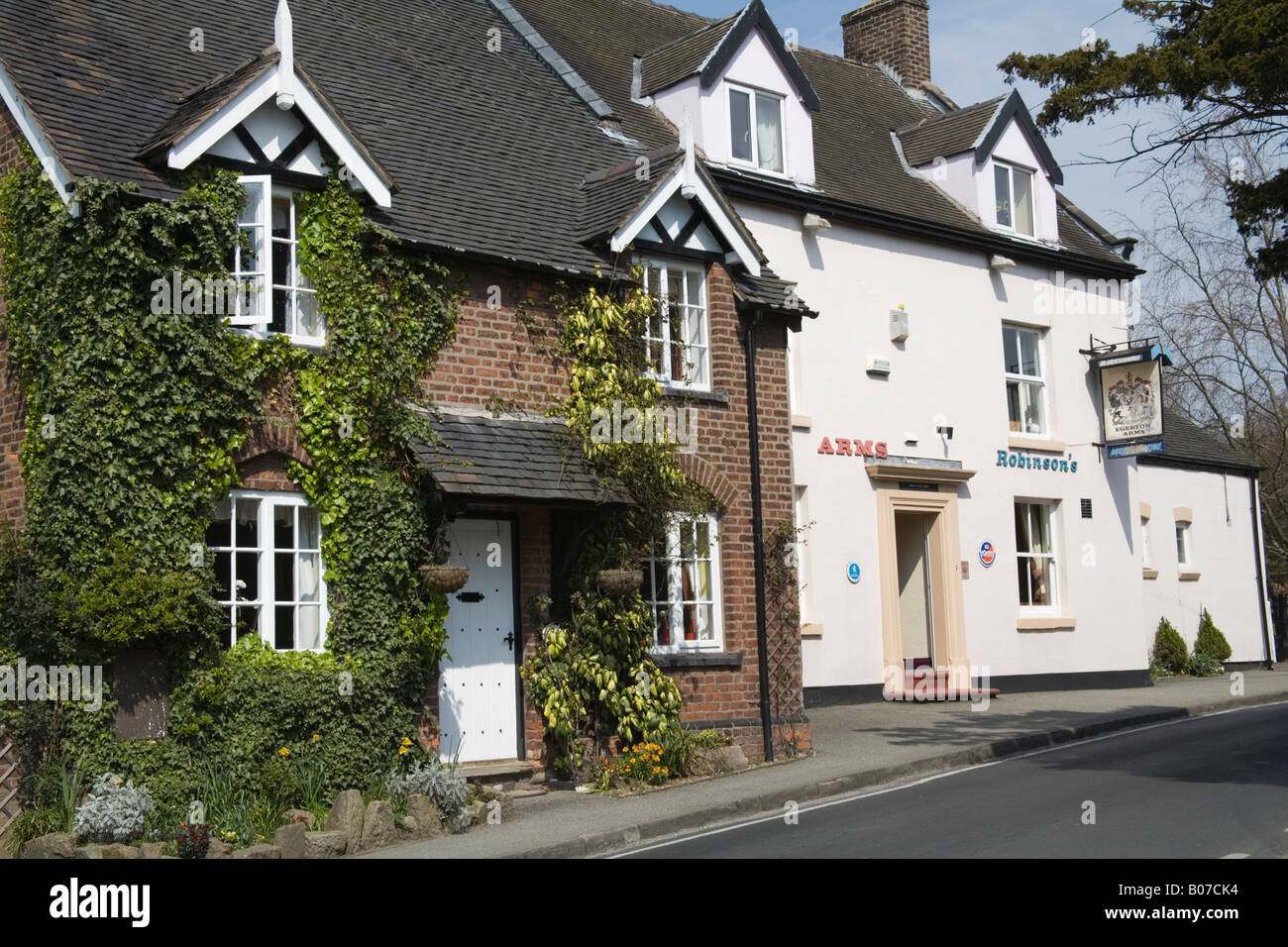 Astbury Cheshire England UK April An ivy covered cottage and the village pub in this attractive Cheshire village - Stock Image