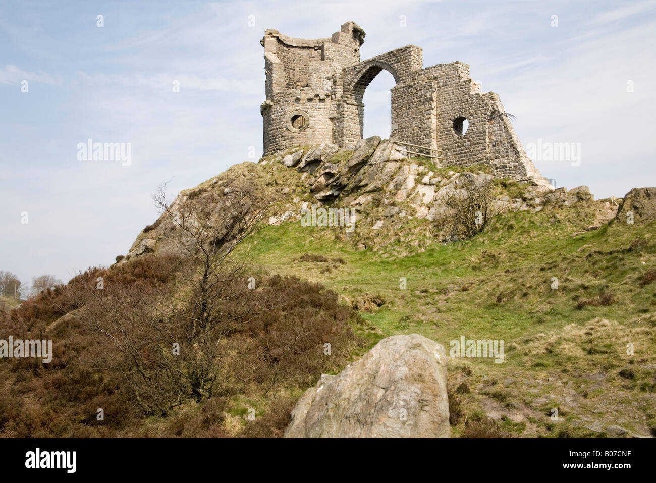 Cheshire England April The mock ruins of Mow Cop Castle