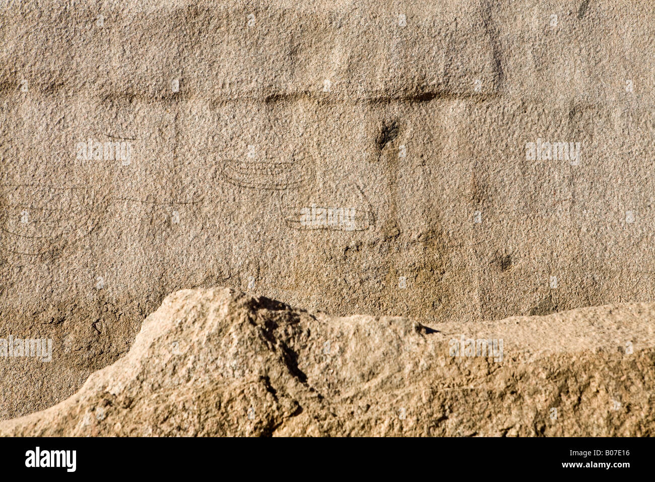 Pictographs on worked out walls at the site of the Unfinished Obelisk Quarry, Aswan, Egypt. - Stock Image