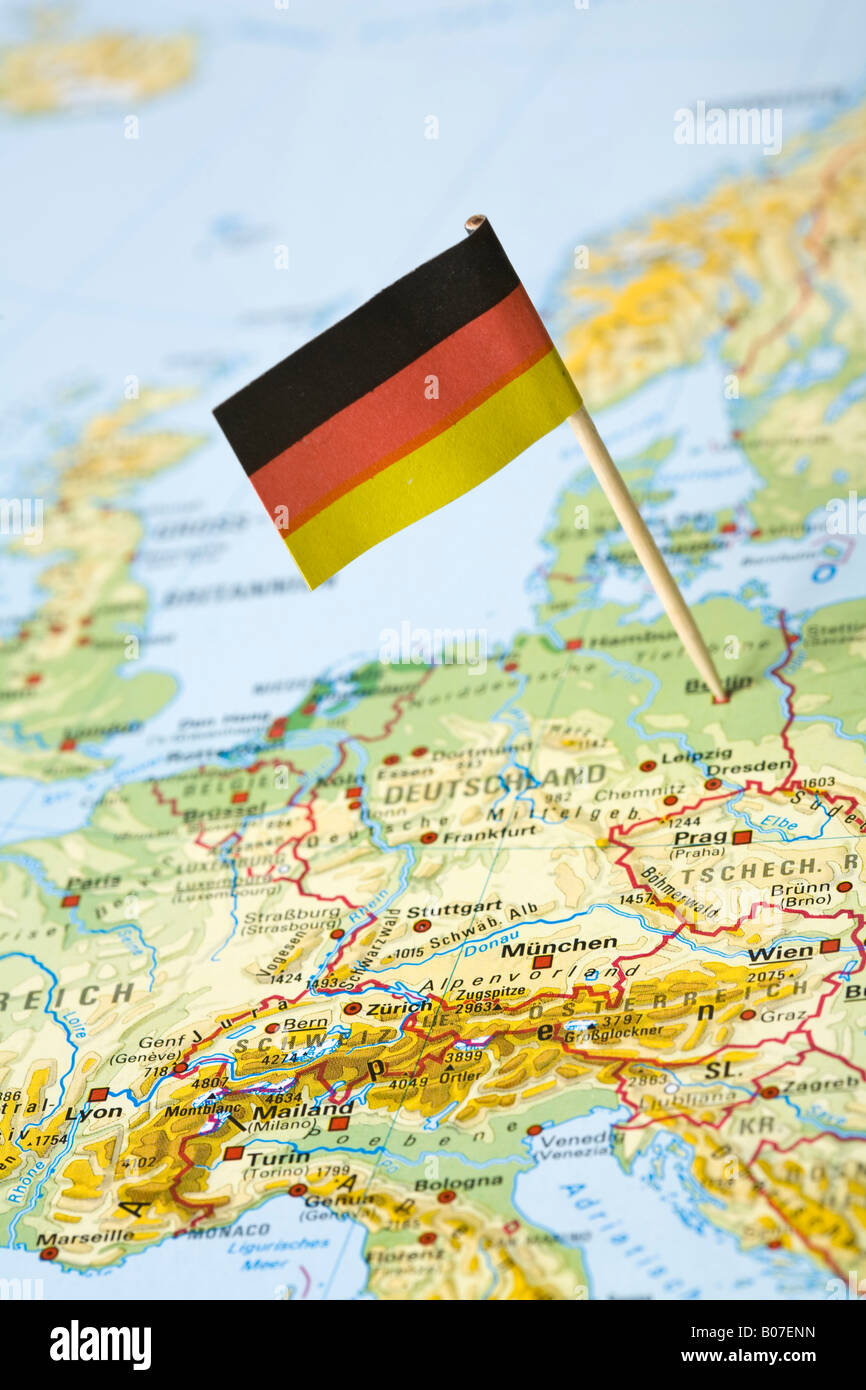 German flag on a topographic map - Stock Image