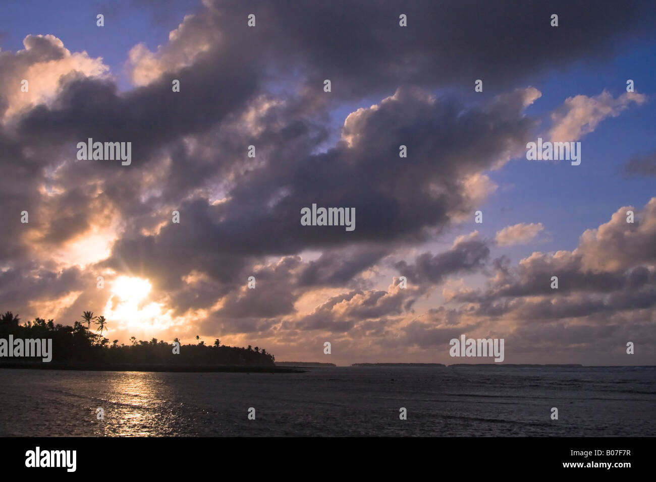 Landscape at sunset, Majuro Atoll, Marshall Islands - Stock Image