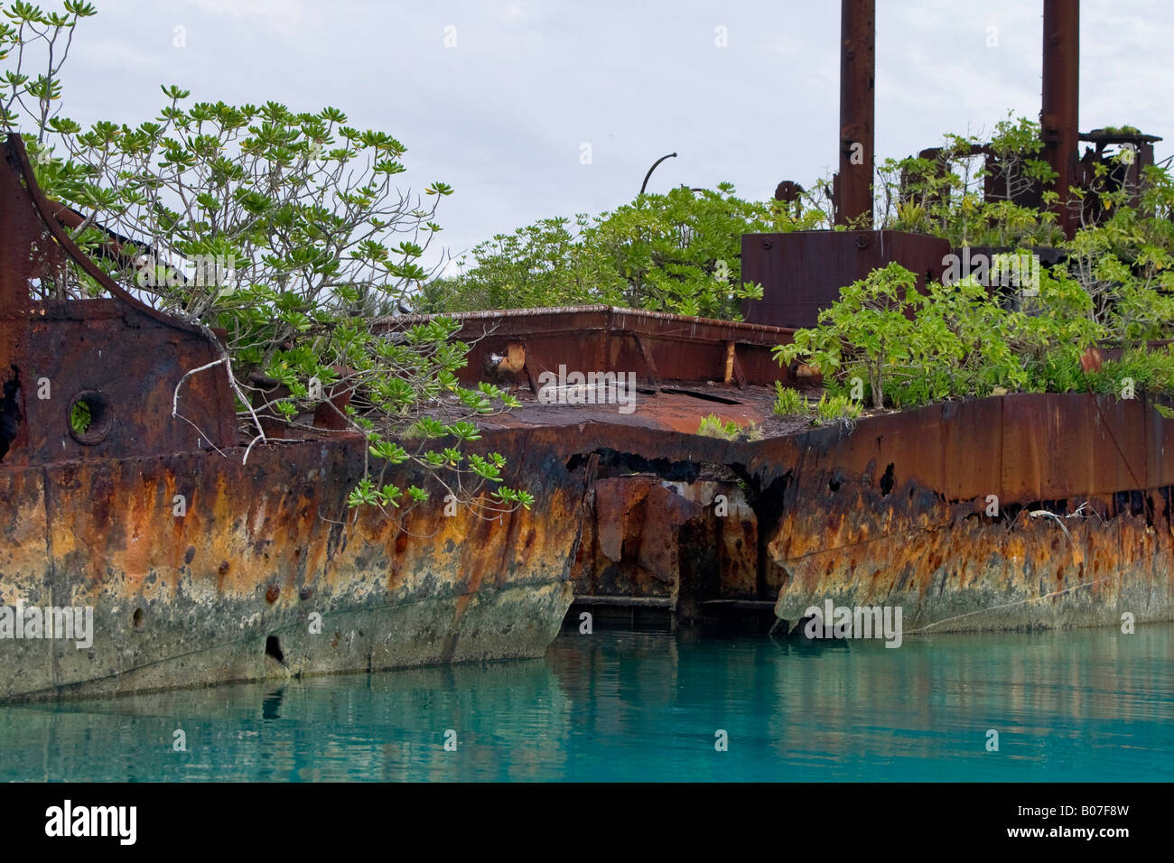 WWII Shipwreck, Jaluit Atoll, Marshall Islands - Stock Image