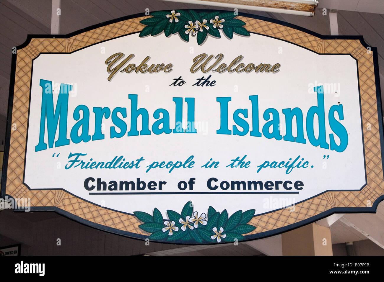 Welcome Sign, Majuro Atoll, Marshall Islands - Stock Image