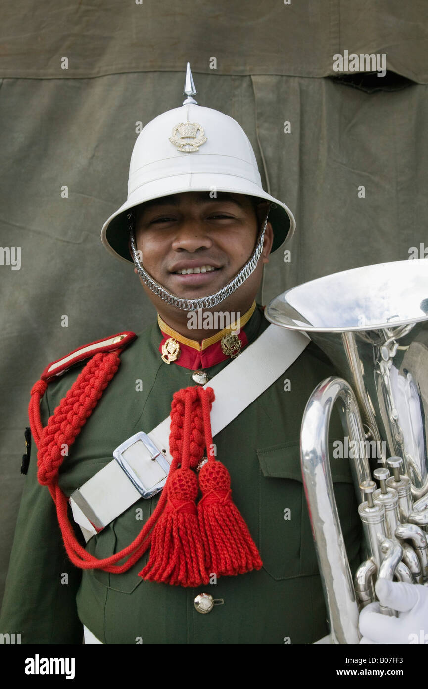 New Caledonia, Grande Terre Island, Noumea, Army Day Festival, Army of Tonga Marching Band member - Stock Image