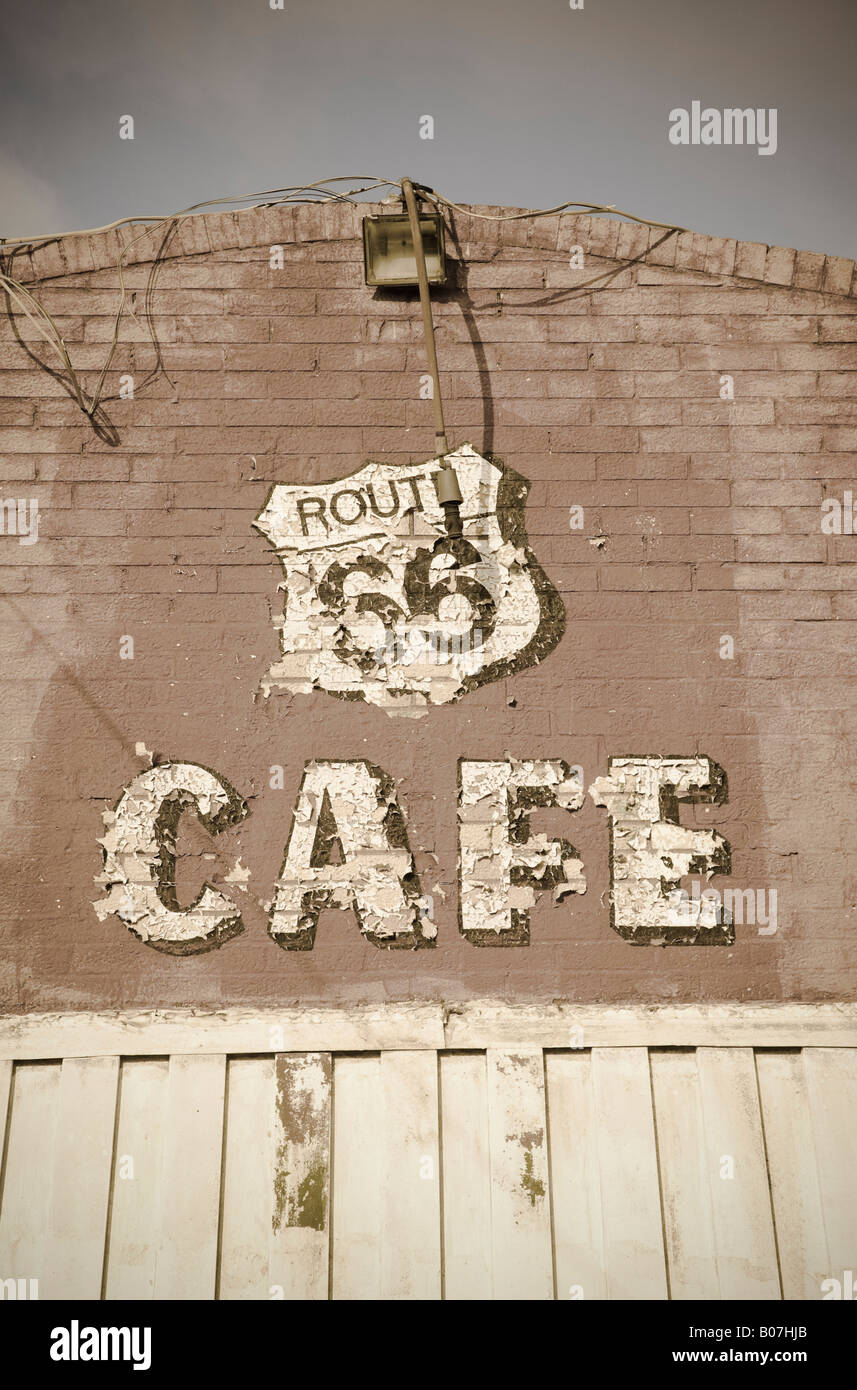 USA, Illinois, Route 66, Litchfield Route 66 Cafe - Stock Image