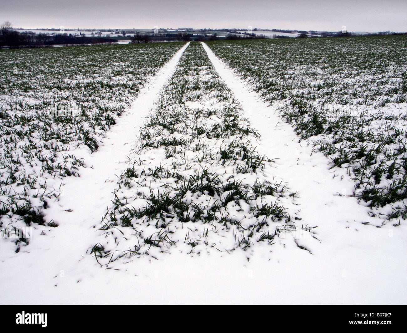 FARMLAND PATH INFINITY DIRECTION FOLLOW SNOW FOOTPATH PUBLIC RIGHT OF WAY WINTER COLD - Stock Image