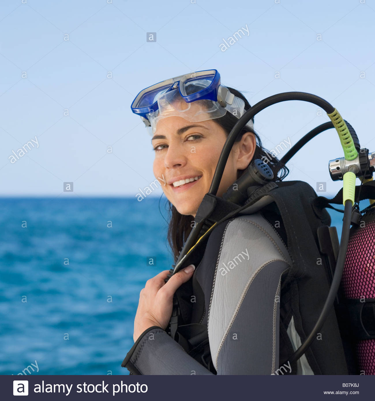 A Woman About To Go Scuba Diving Stock Photo 17379170 Alamy