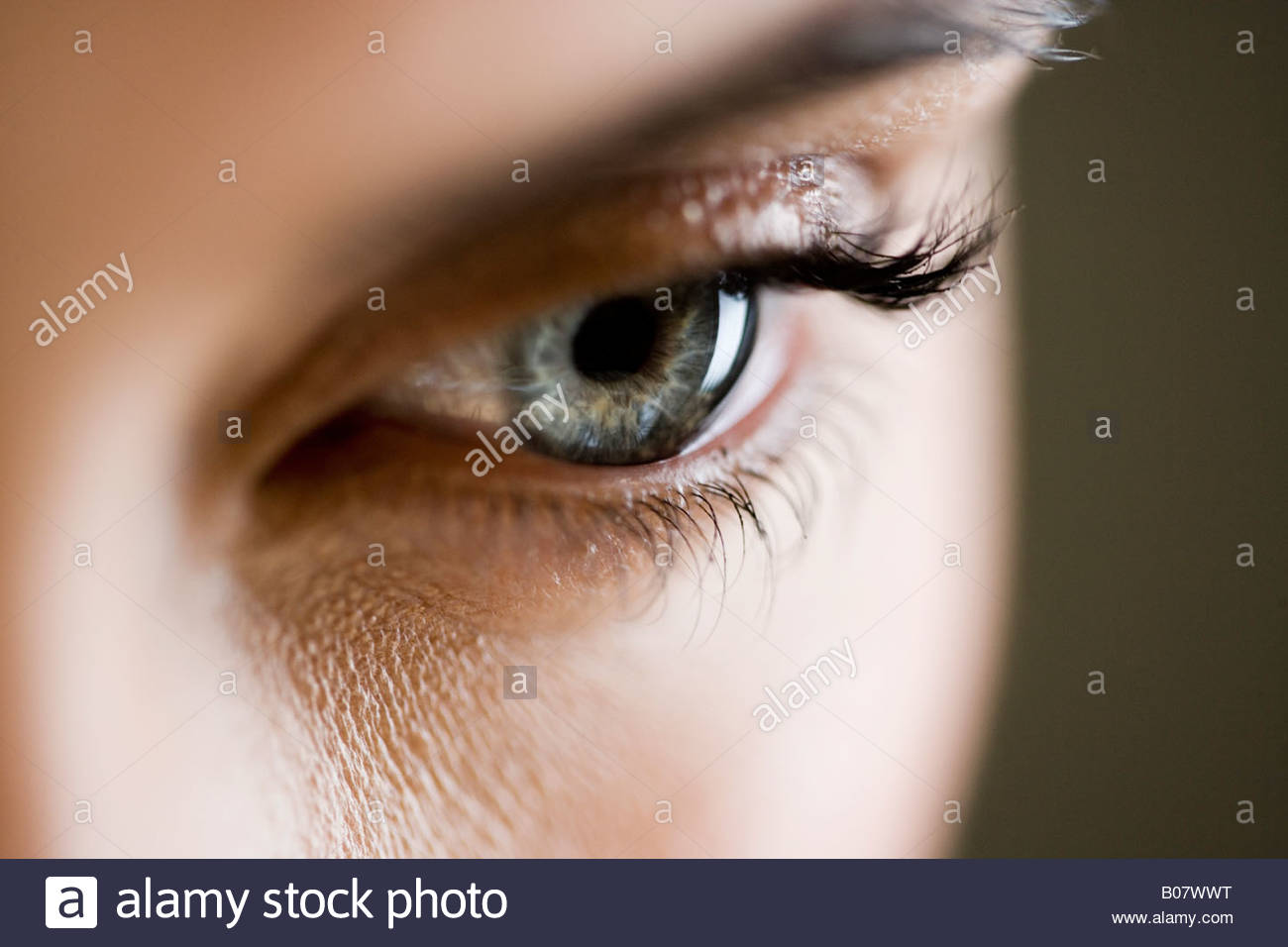 Detail of woman's face showing left eye Stock Photo