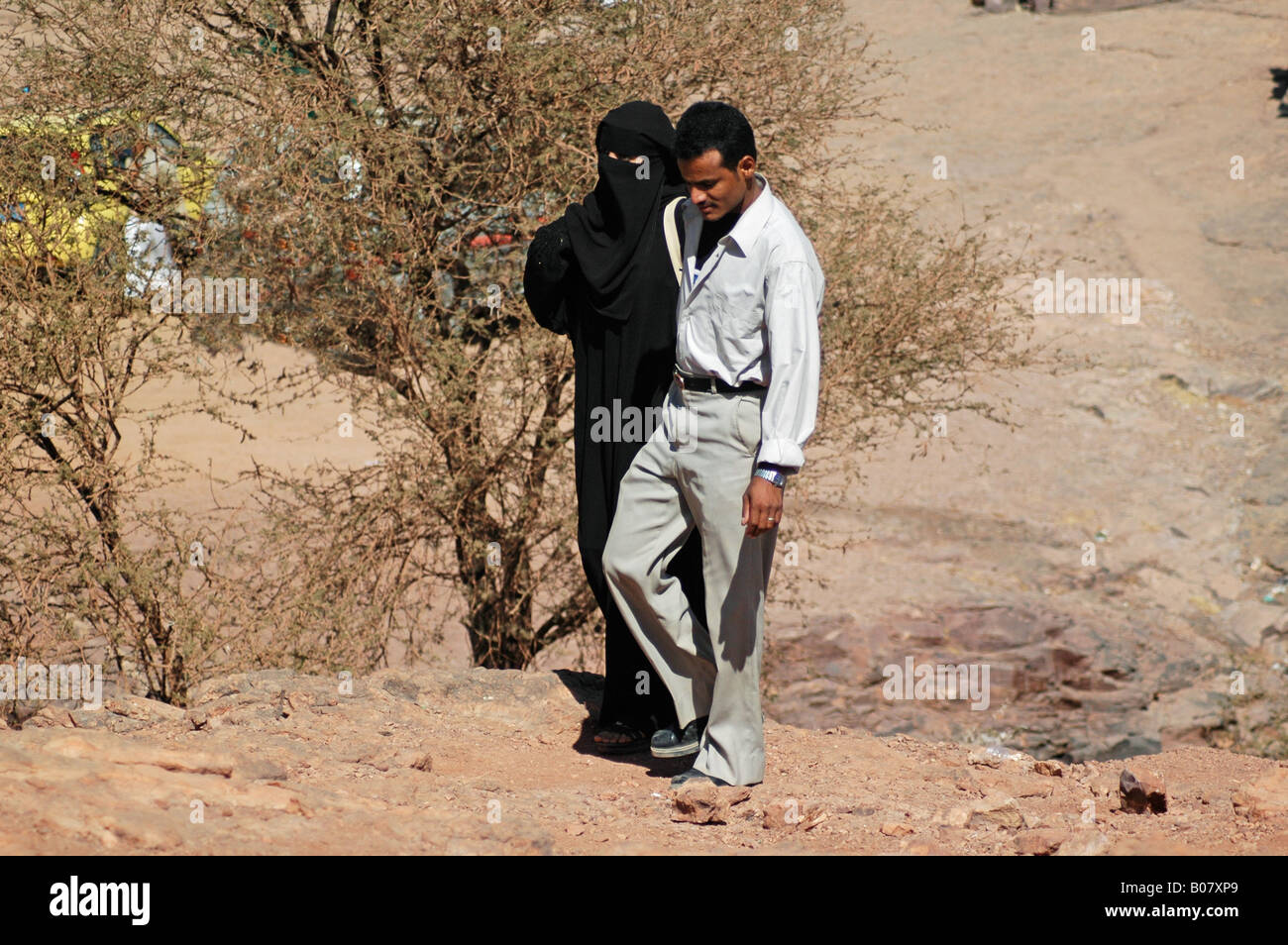 Young couples as well as large families like to stroll the Wadi Dhar plateau a short distance from the capital Sana'a - Stock Image