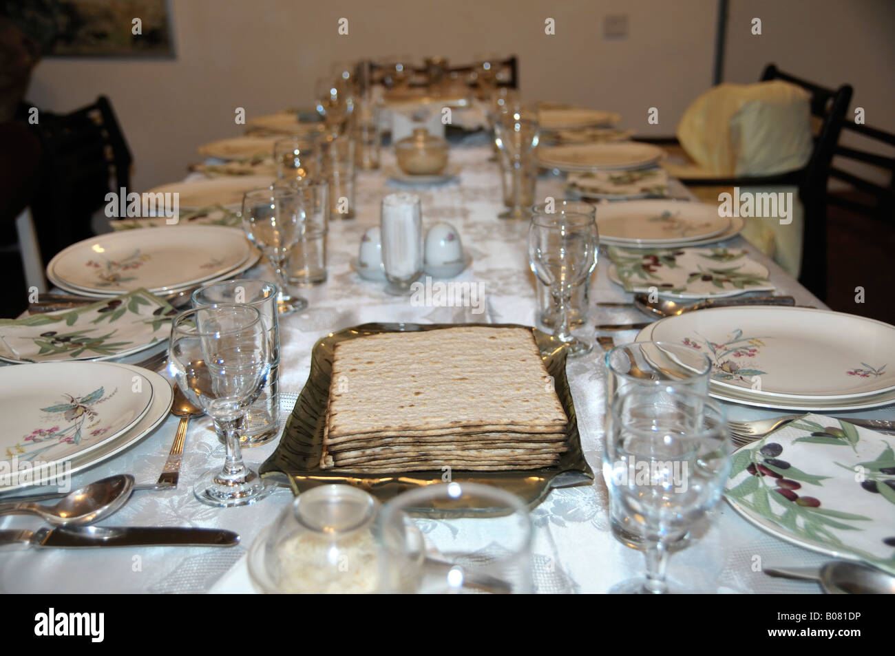 Table set for a Jewish Festive meal on Passover - Stock Image