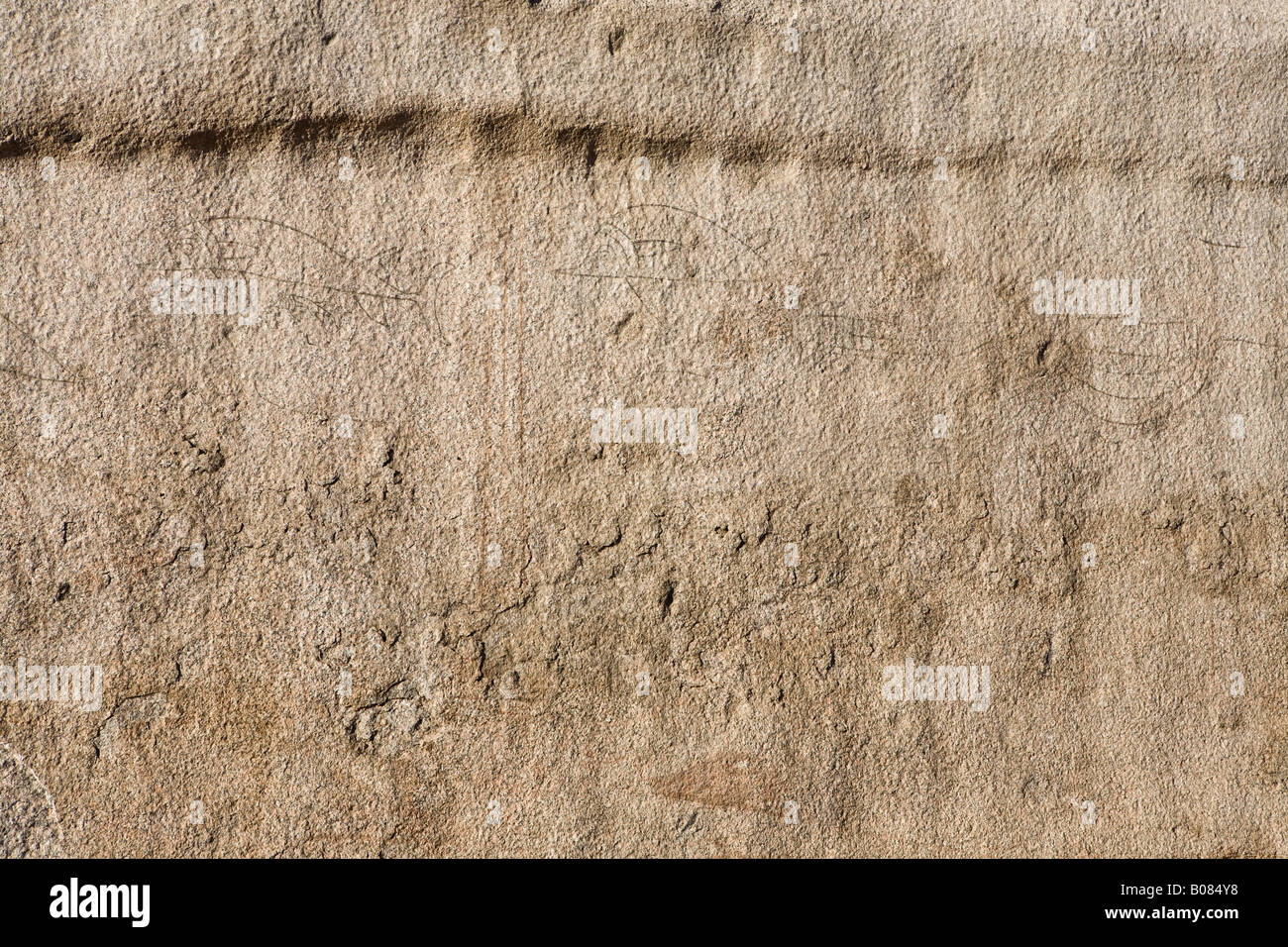 Quarry markings and graffiti of the workmen at the site of the Unfinished Obelisk, Aswan, Egypt. - Stock Image