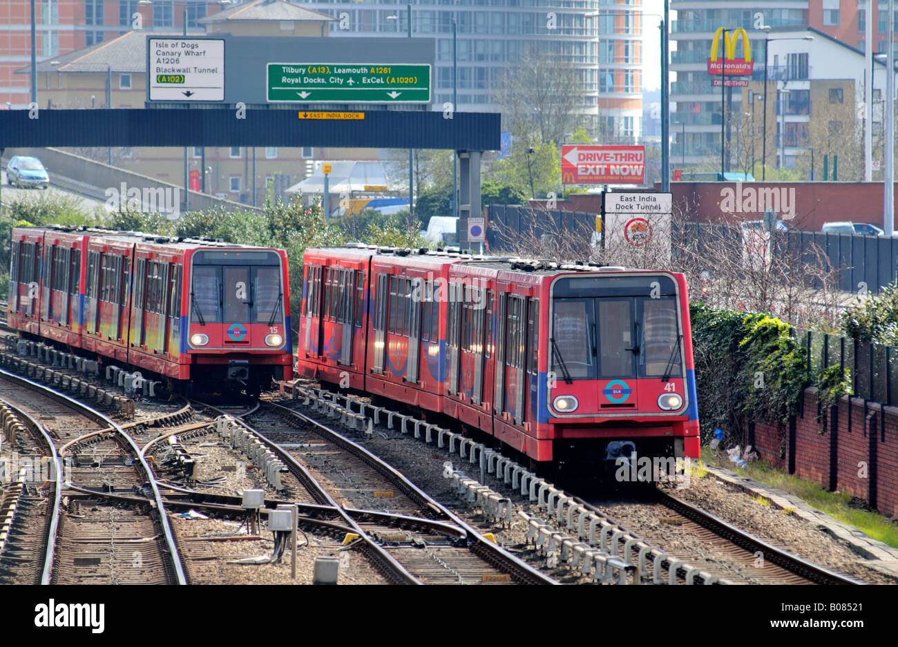 Docklands Light Railway trains London United Kingdom - Stock Image