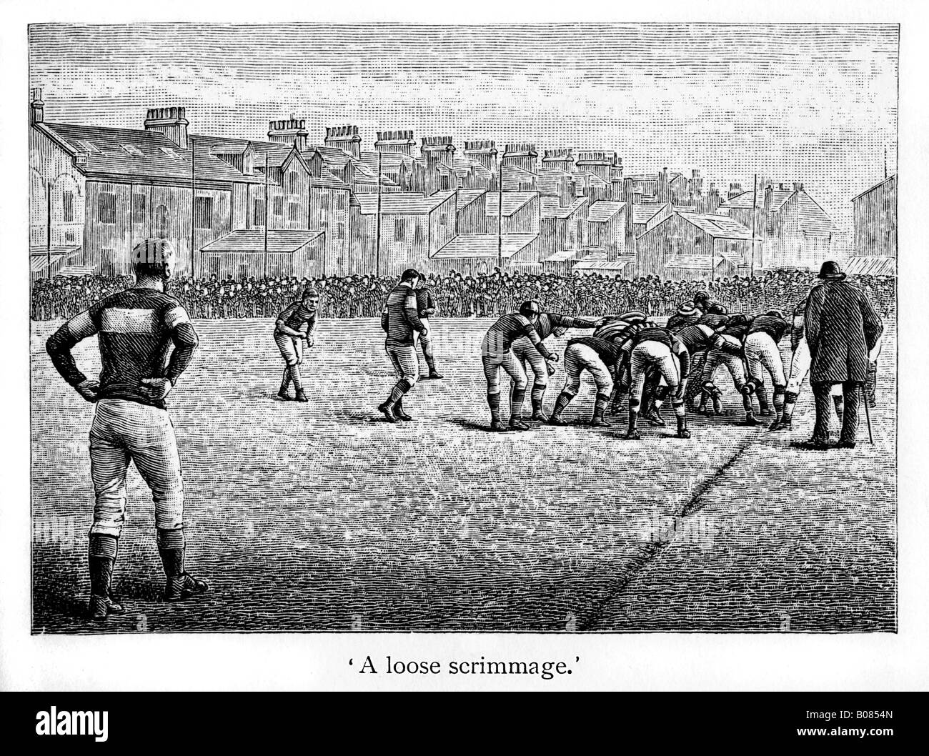 Victorian Rugby A Loose Scrimmage engraving of match action from the 1887 book by Shearman on rugger - Stock Image