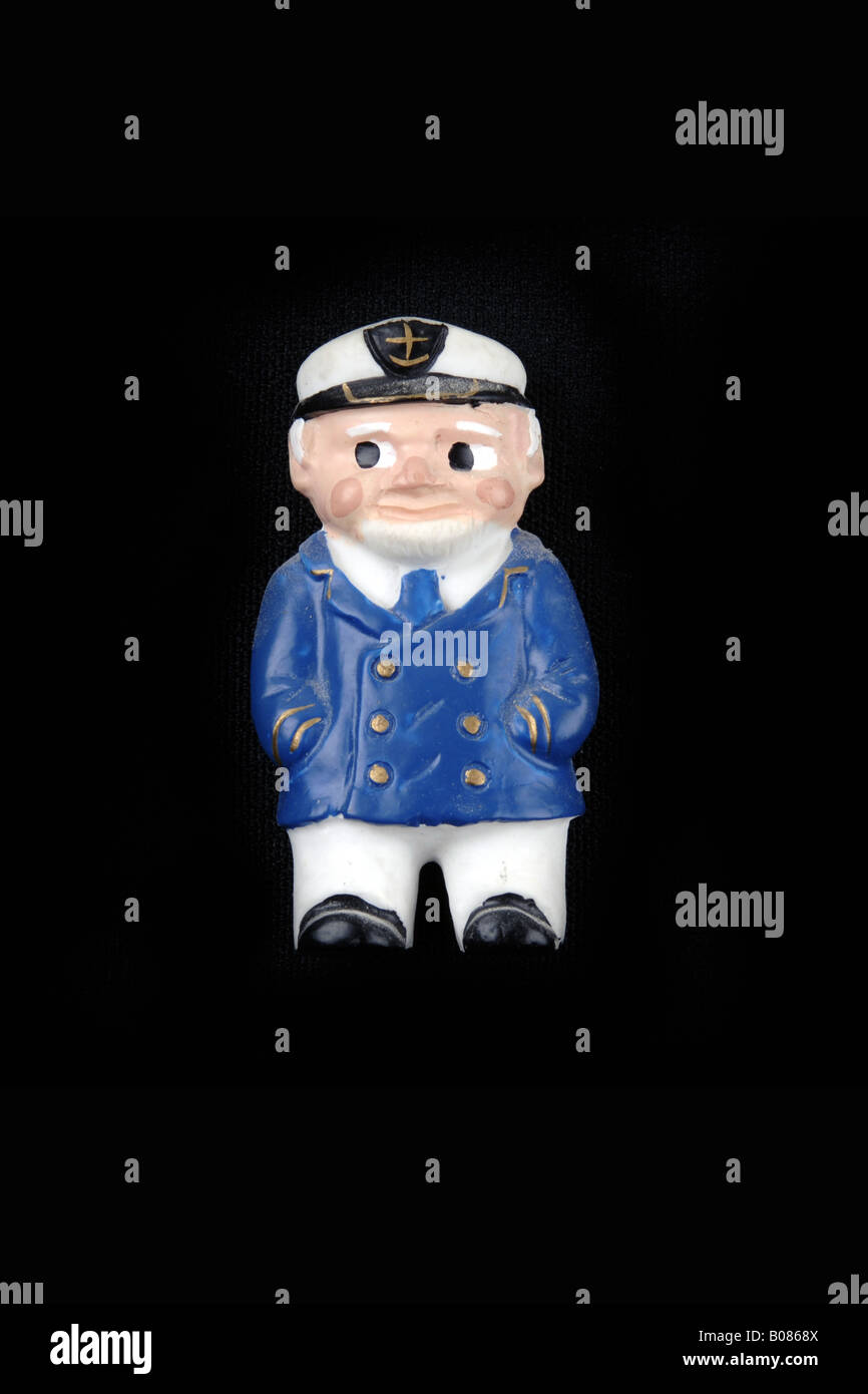 Cartoon character fridge magnet of a Sea Captain - Stock Image