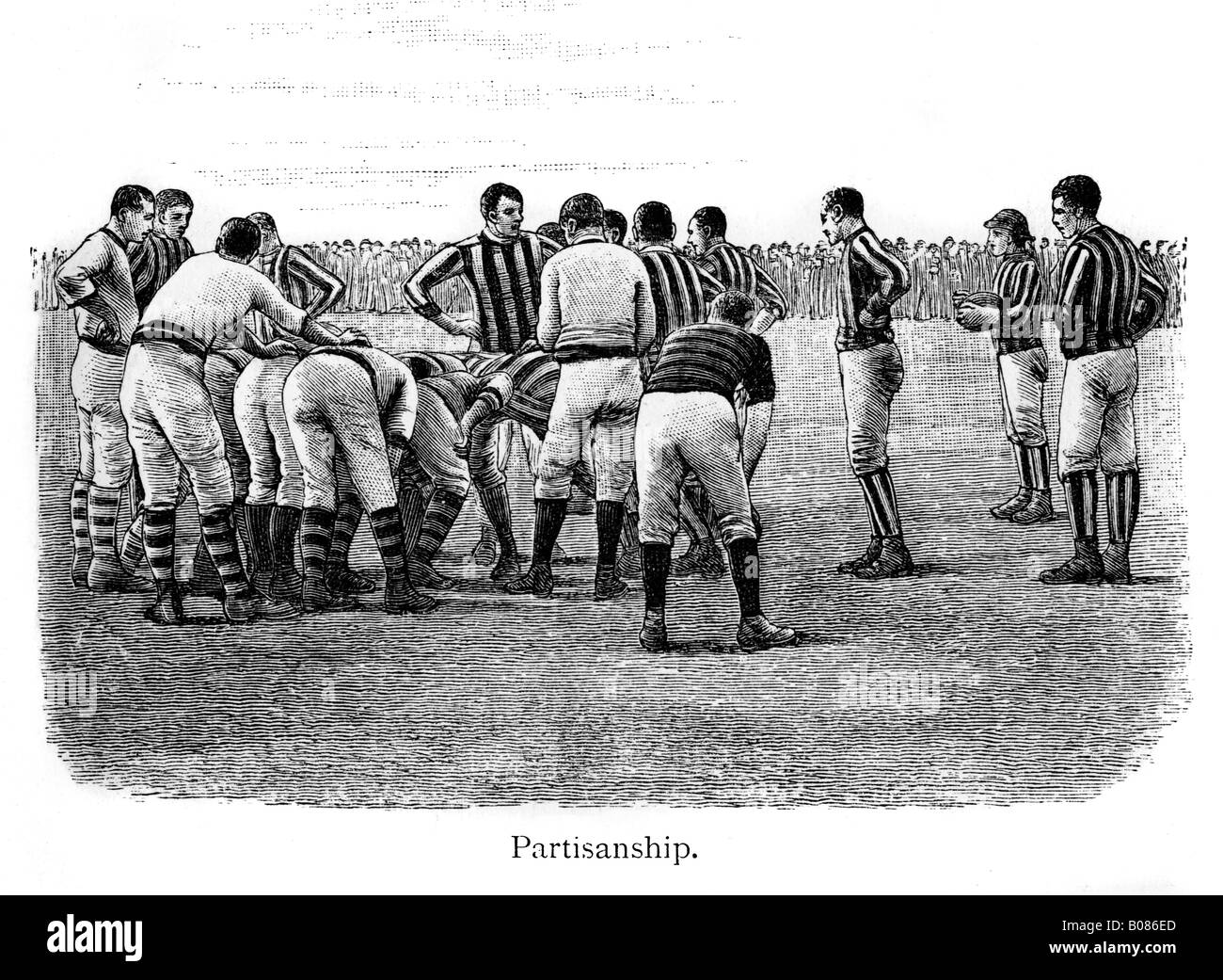 Victorian Rugby Partisanship engraving of match action from the 1887 book by Shearman on rugger - Stock Image