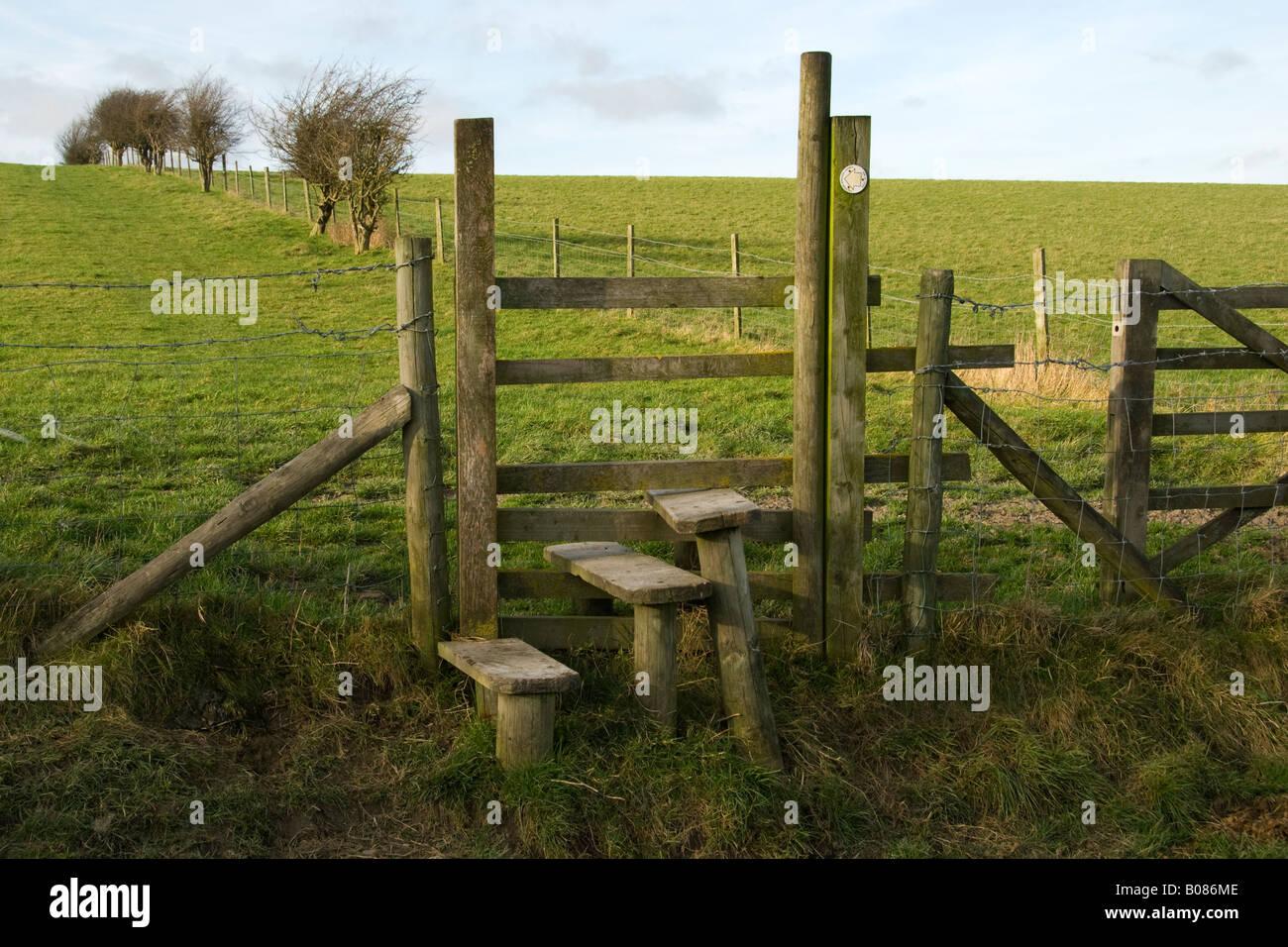 Traditional stile, Hertfordshire, England, UK - Stock Image