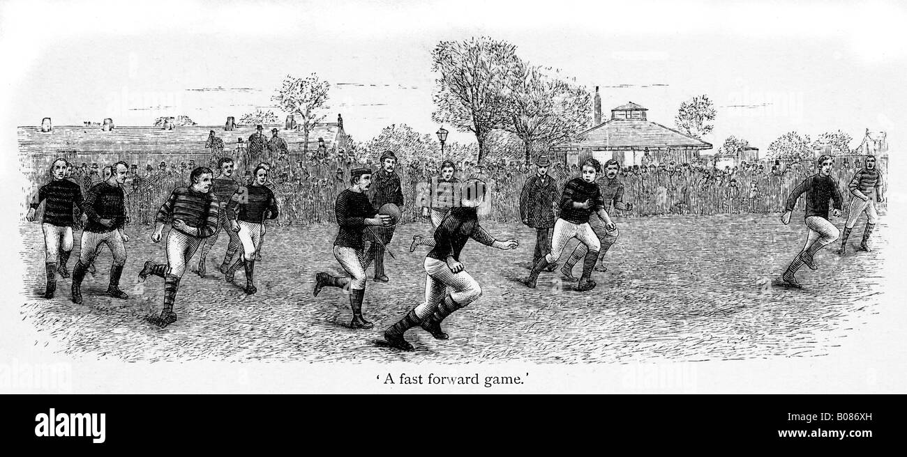 Victorian Rugby A Fast Forward Game engraving of match action from the 1887 book by Shearman on rugger - Stock Image