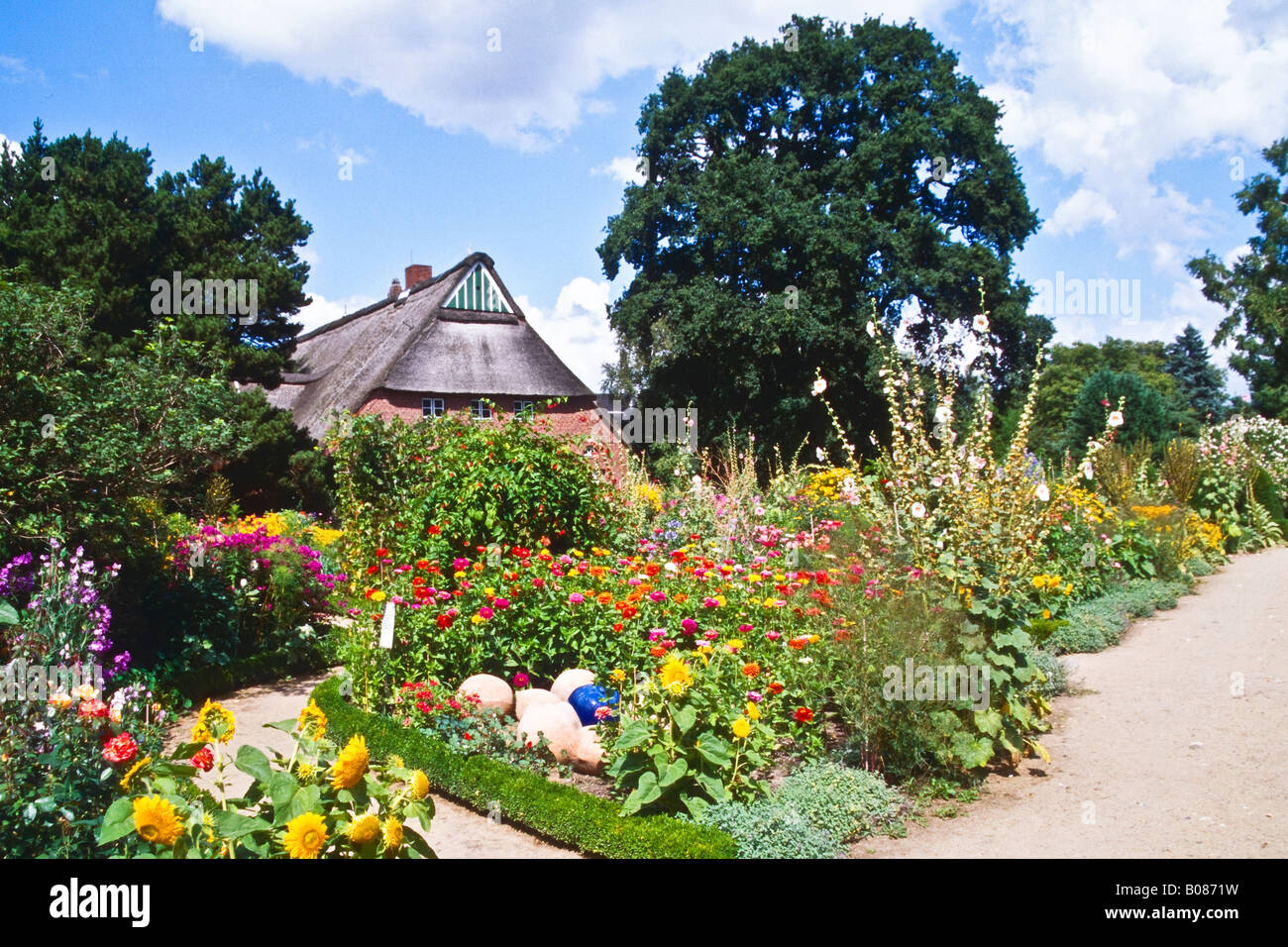 Cottage Garden in the Arboretum Ellerhoop Stock Photo