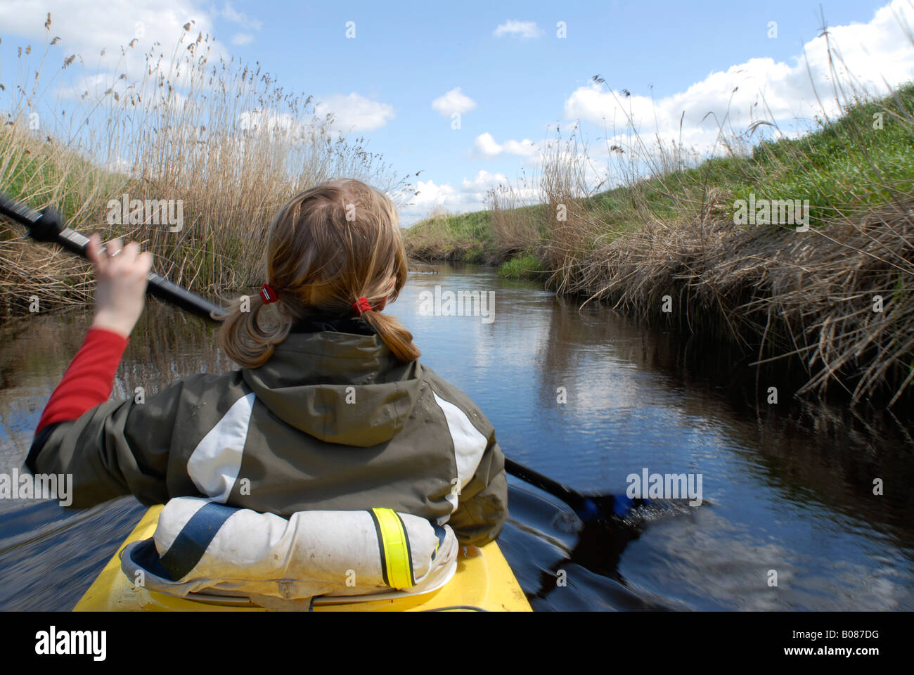 kayak paddler in river, Sweden - Stock Image