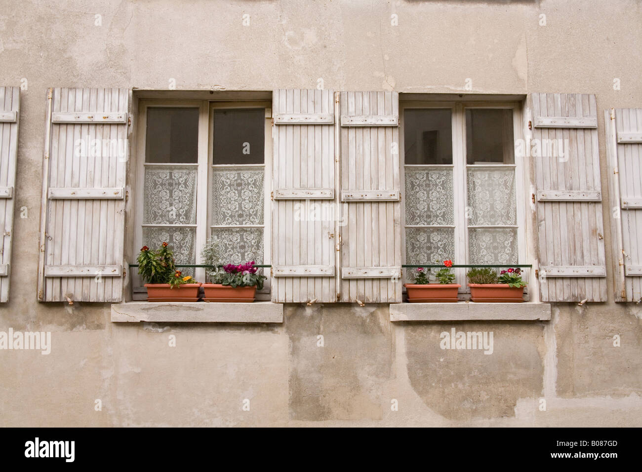 Traditional French Window Shutters Paris France Stock