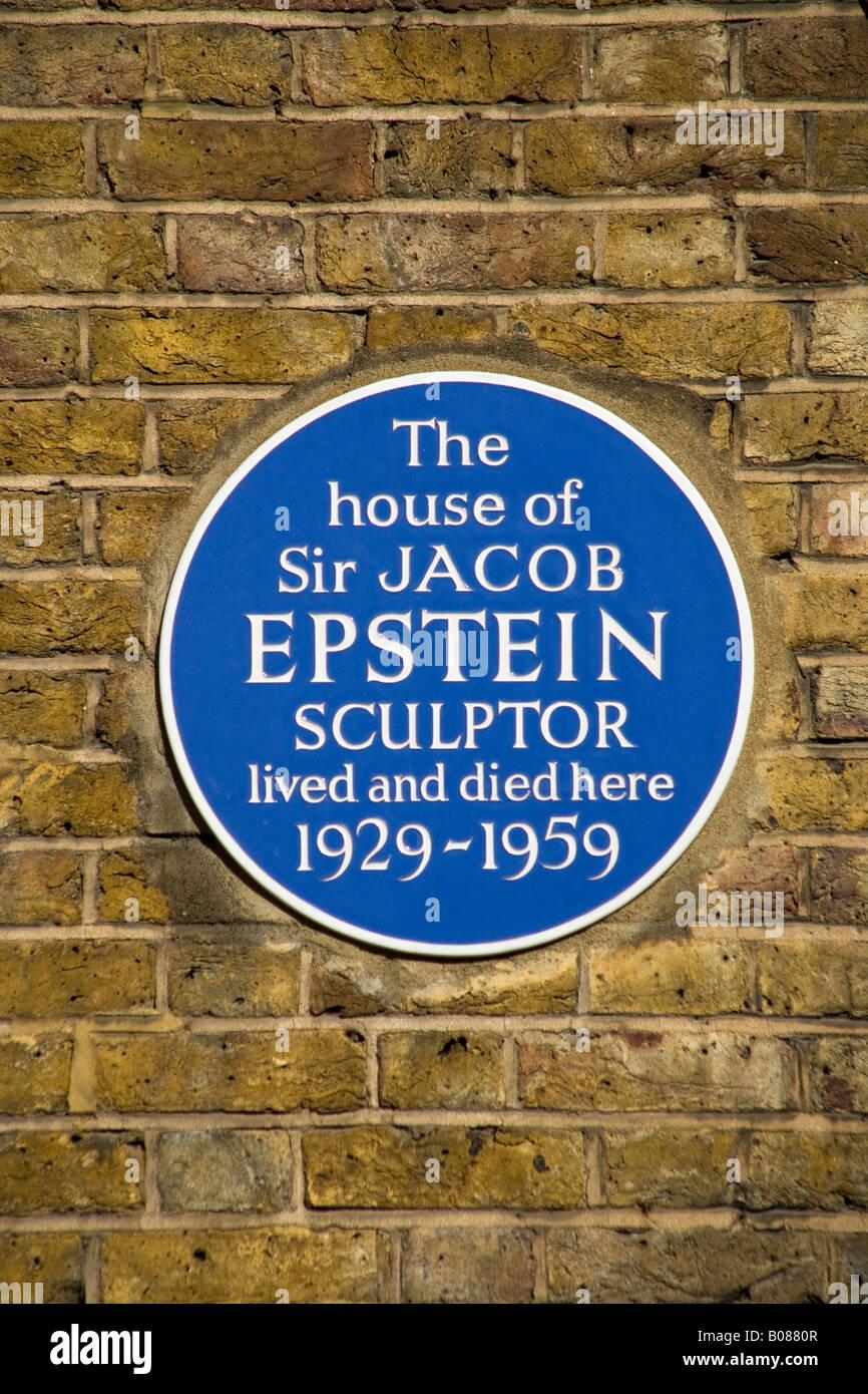 Jacob Epstein Blue Plaque Kensington London - Stock Image