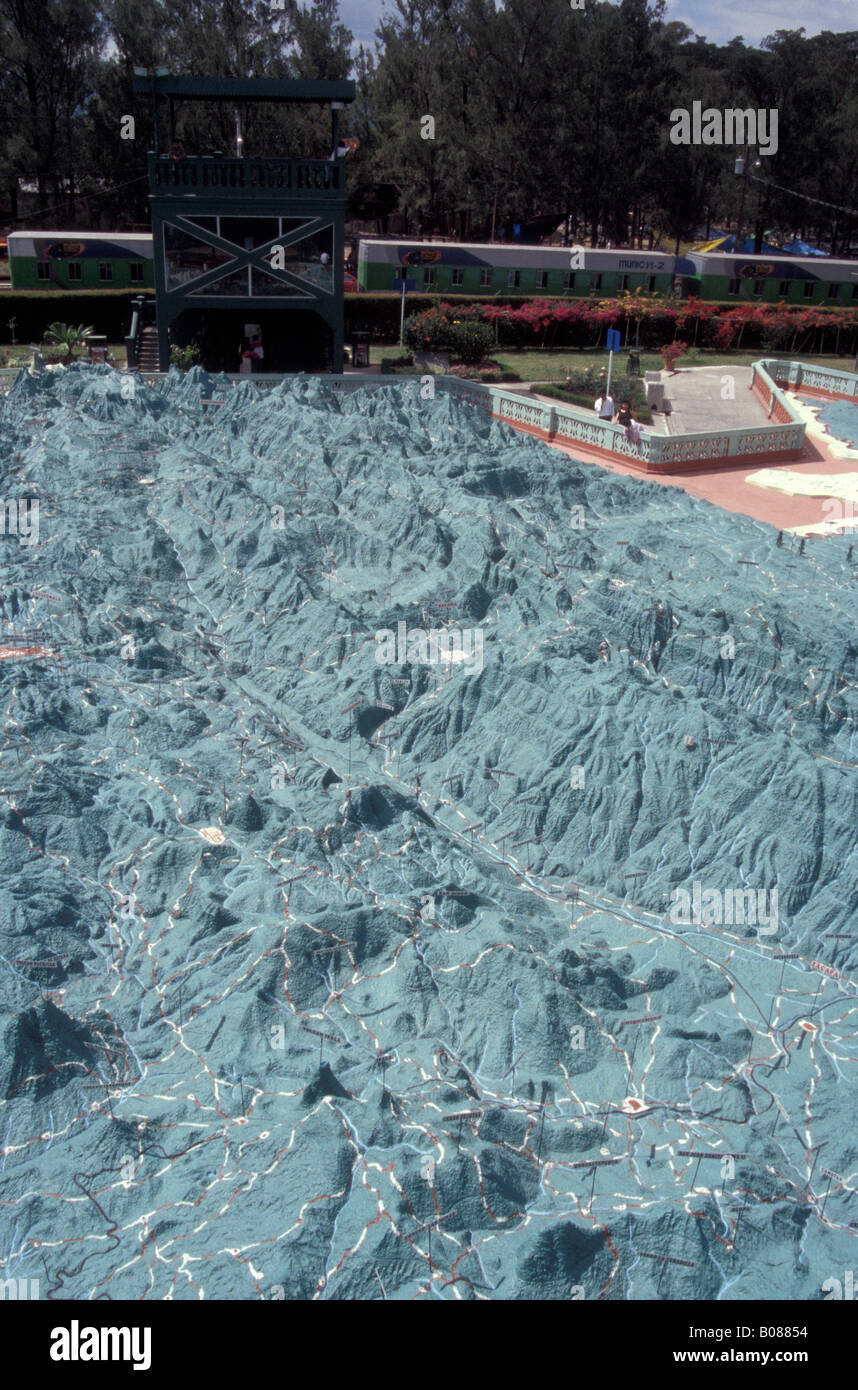 The Mapa en Relieve, a giant relief map of Guatemala in Parque Minerva, Guatemala City - Stock Image
