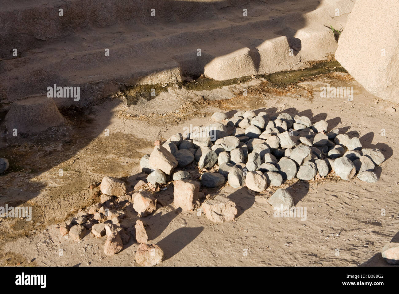 Diorite tools and quarry workings  at the site of the Unfinished Obelisk, Aswan, Egypt. - Stock Image