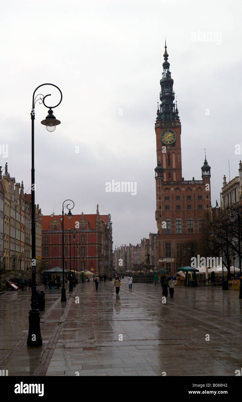 The Old Town of Gdansk (Danzig), Poland, looking towards the Town Hall of the Main City (now the History Museum) Stock Photo
