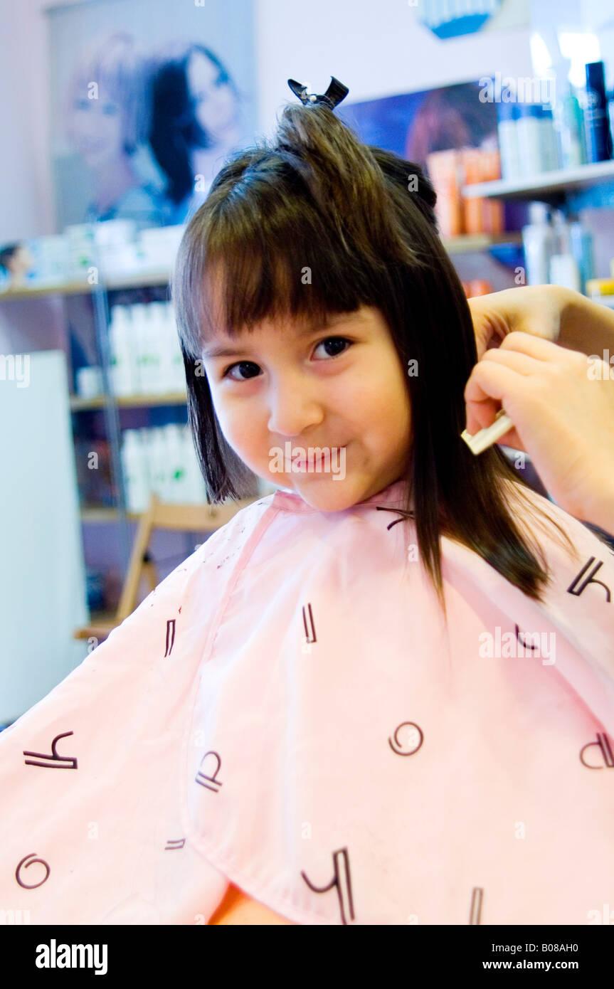 Little Girl Getting Haircut Stock Photos Little Girl Getting
