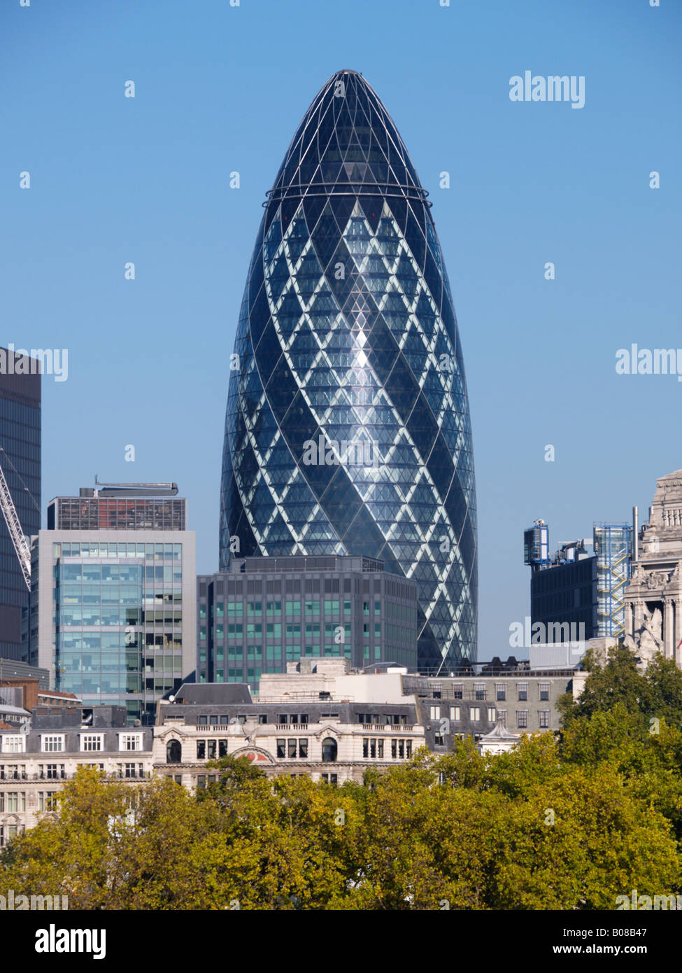 The Swiss Reinsurance Re building also knwon as the gherkin by architect Norman Foster and partners London UK 30 - Stock Image