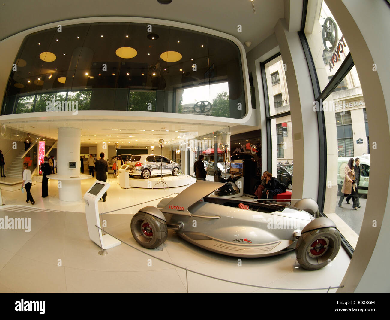 Concept cars and show cars in the Toyota flagship store on the Avenue des Champs Elysees in Paris France Europe - Stock Image