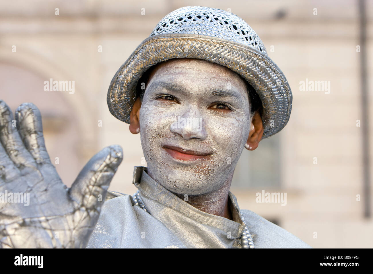 Mime Actor in the streets of Rome Italy - Stock Image
