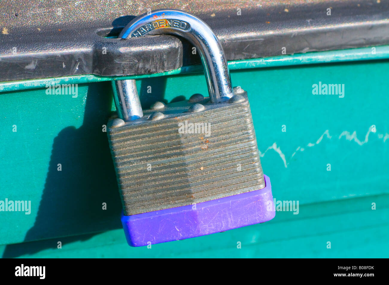 Steel padlock View from the front. Close up (macro) - Stock Image