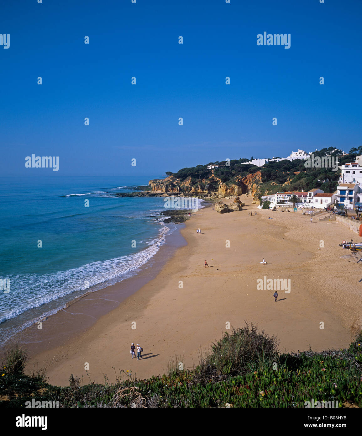small resort and fishing village of Olhos de Agua in the Algarve - Stock Image