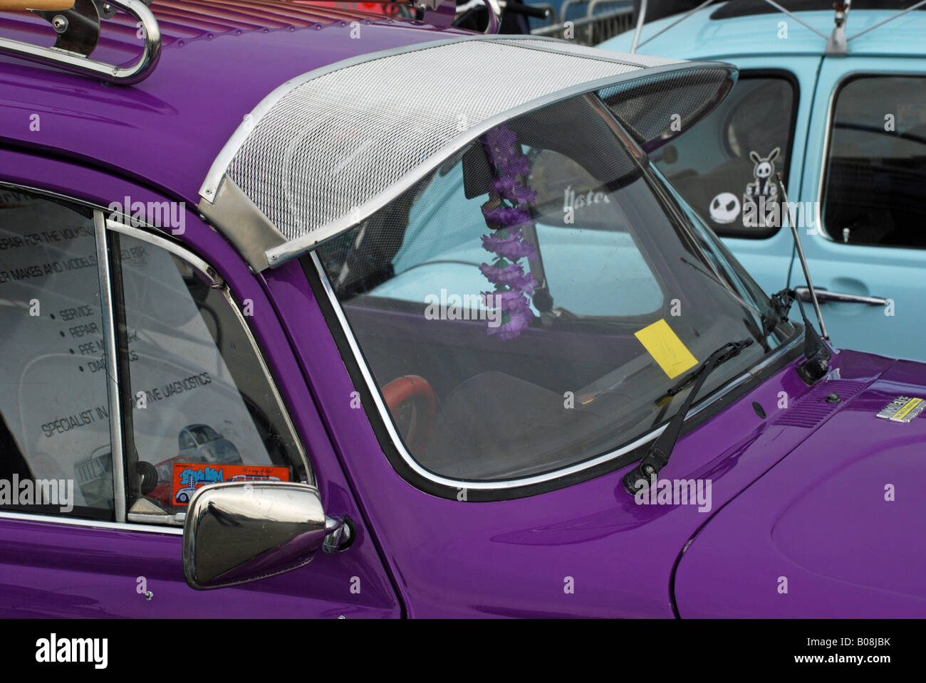 A VW Beetle fitted with a sun visor at Santa Pod racetrack Stock ... c6df2c3af94
