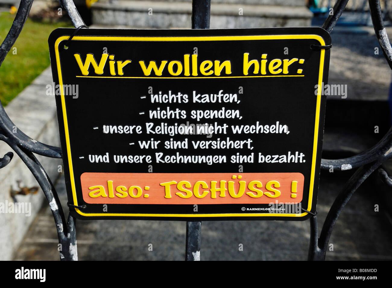 Amusing sign, no soliciting, no solicitors, Germany - Stock Image
