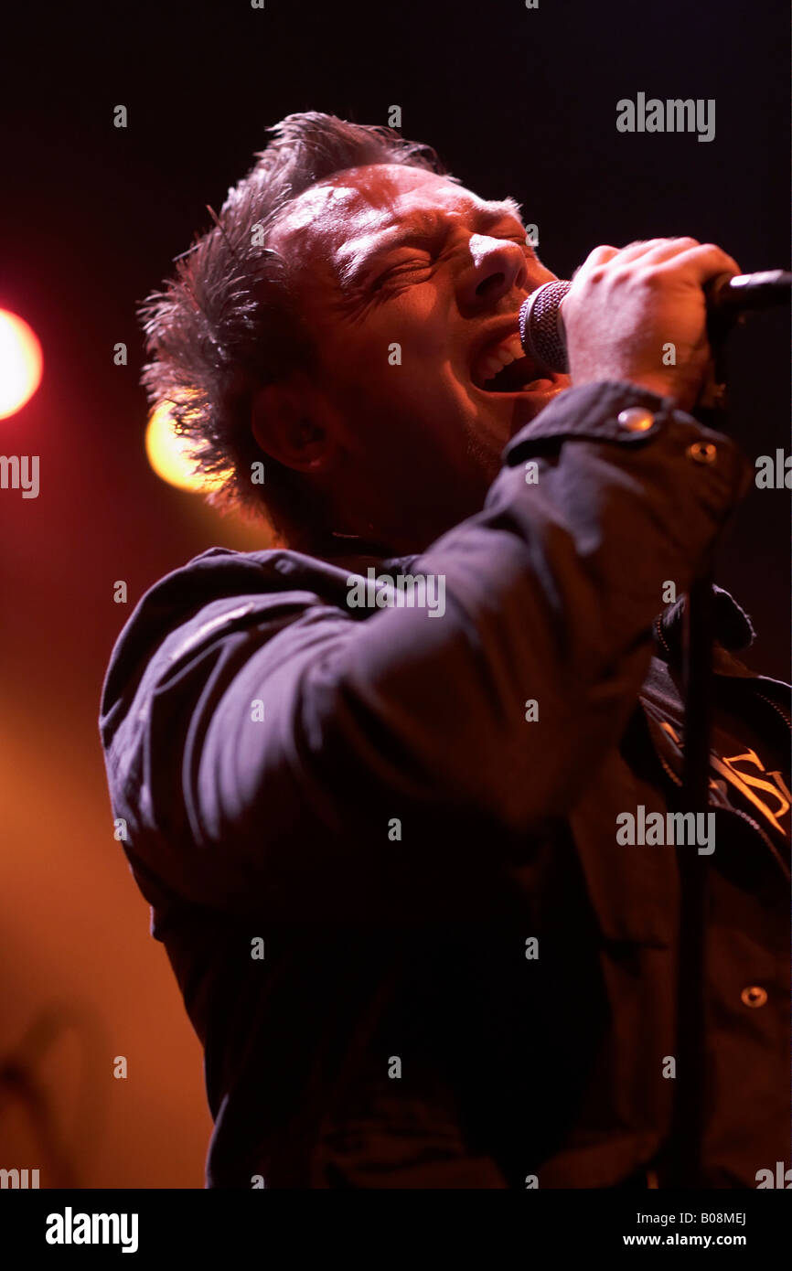 Singer Michael Eriksen of Circus Maximus, supporting act for Symphony X on February 22, 2008 at Z7, Pratteln, Switzerland - Stock Image