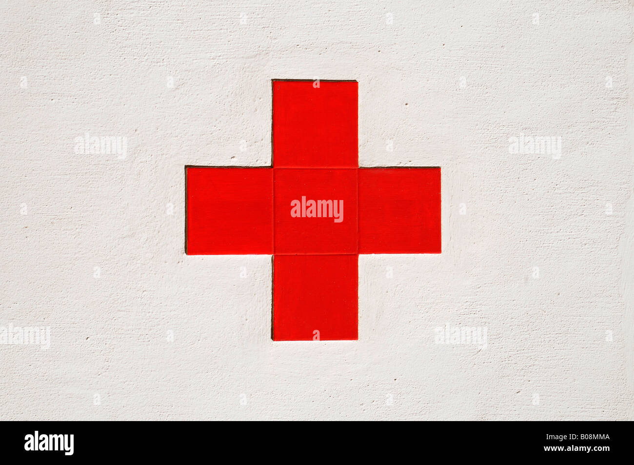 Red Cross symbol, Denia, Valencia, Costa Blanca, Spain - Stock Image