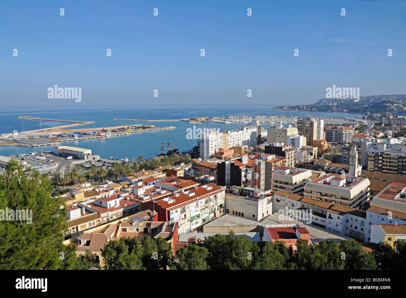 Panoramic view of Denia, Valencia, Costa Blanca, Spain Stock Photo