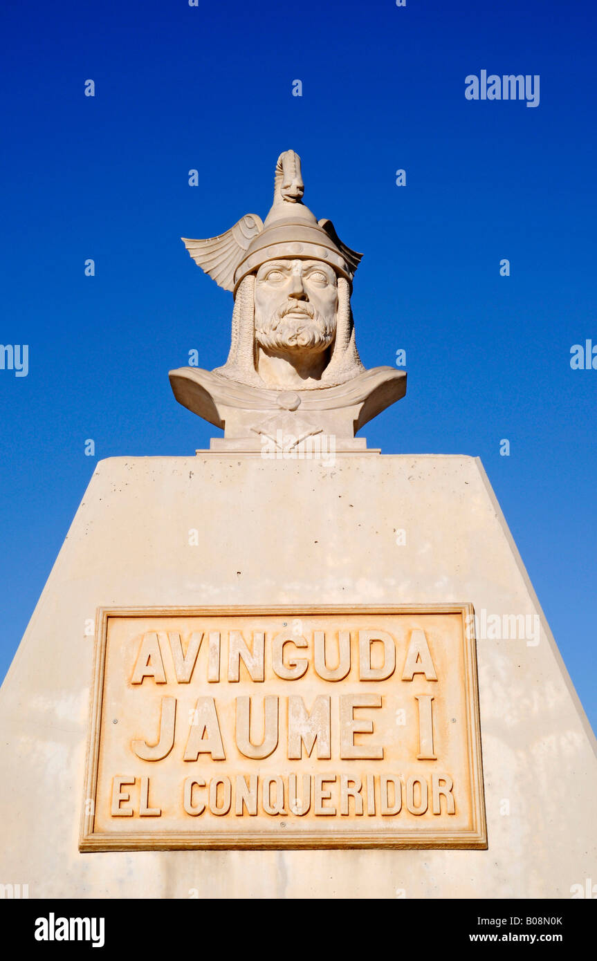 Memorial for Jaume I the Conquerer, Jaime, King of Aragon, Calpe, Alicante, Costa Blanca, Spain - Stock Image