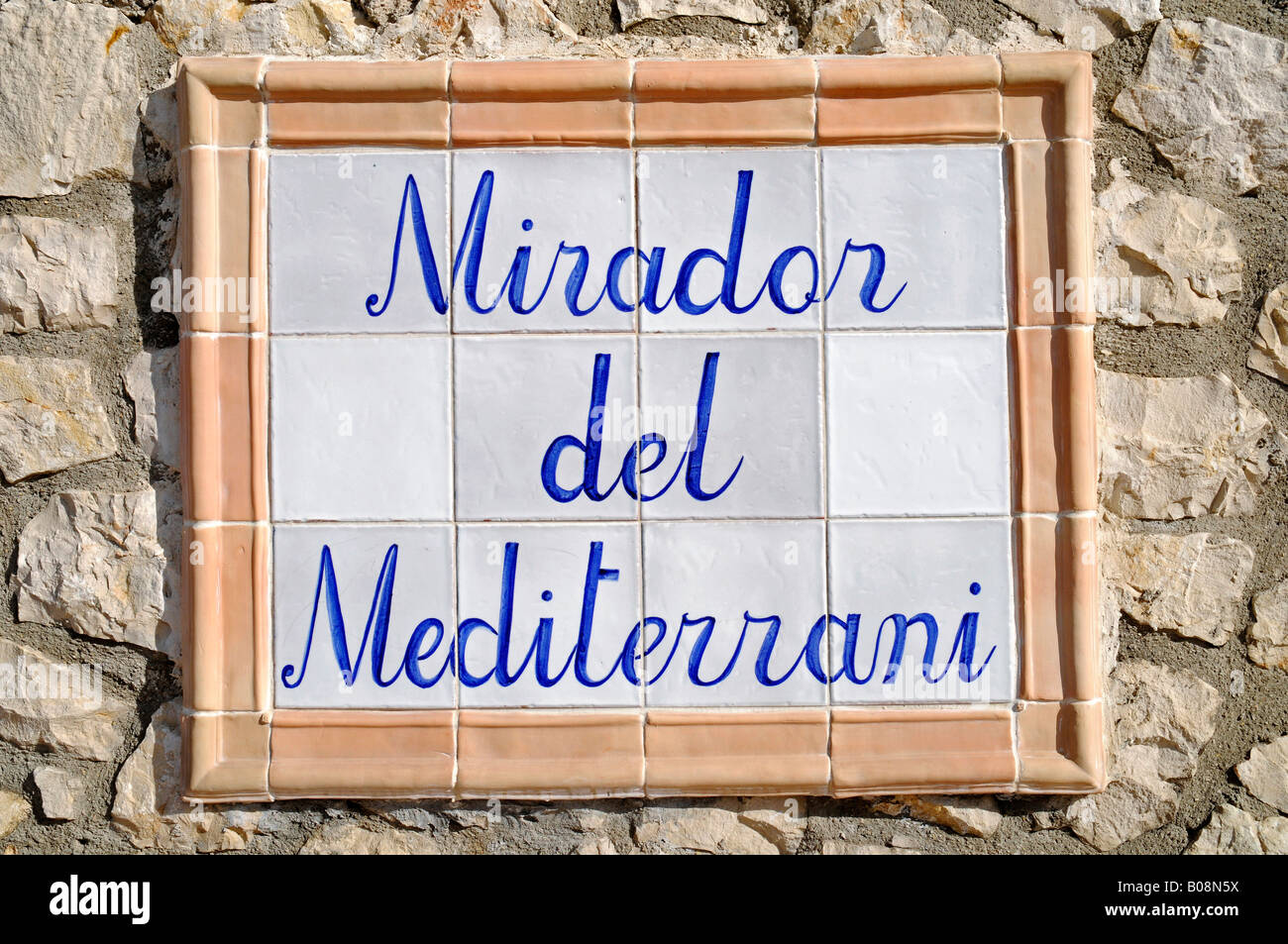 Sign, Mirador del Mediterrani, lookout point, Mediterranean, Spanish tiles, Teulada, Alicante, Costa Blanca, Spain Stock Photo