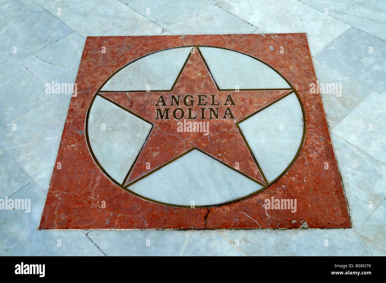 Actress Angela Molina's star on the El Paseo de Estrellas, Promenade of the Stars, Albir, Alicante, Costa Blanca, - Stock Image