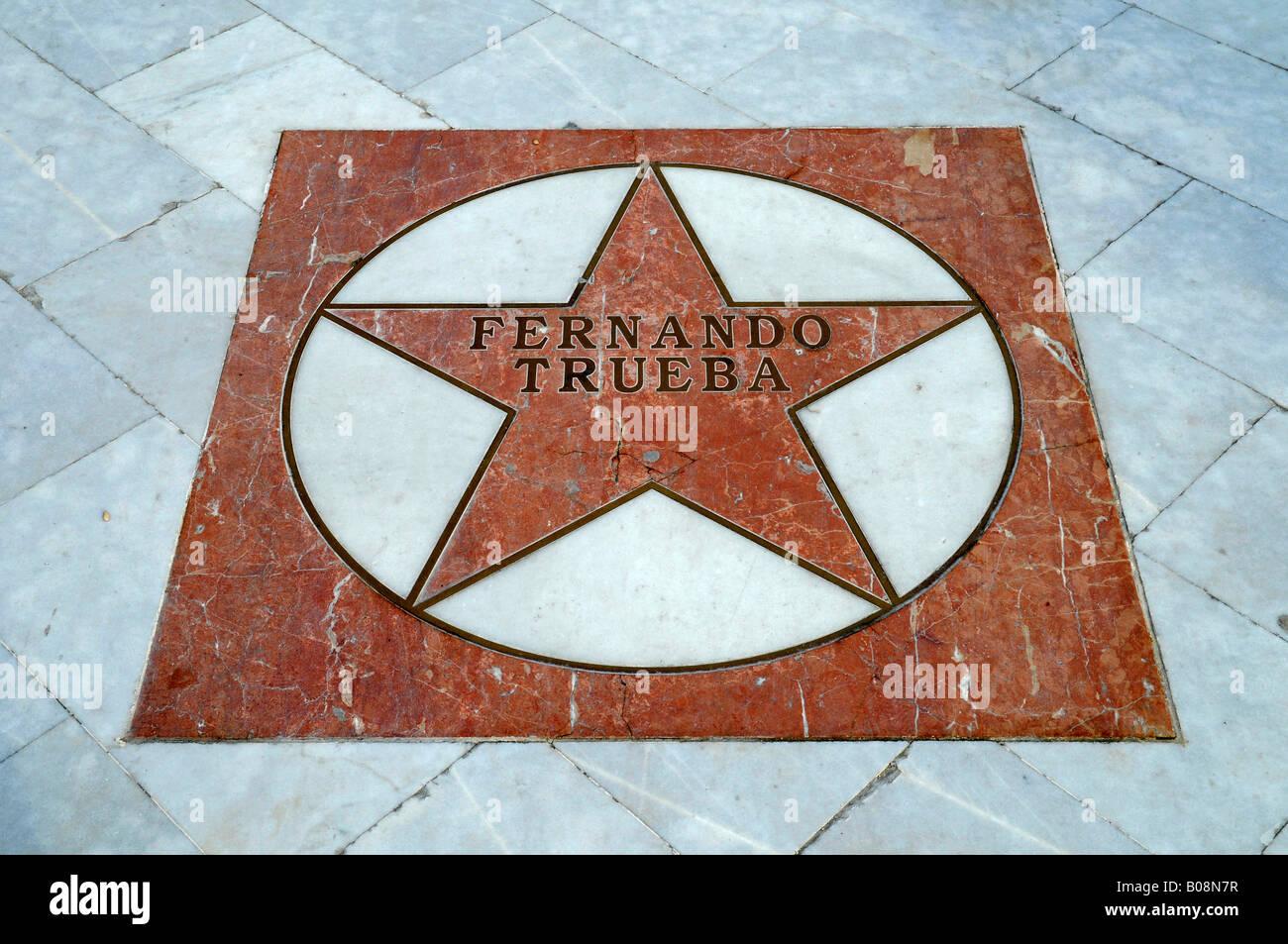 Director Fernando Trueba's star on the El Paseo de Estrellas, Promenade of the Stars, Albir, Alicante, Costa - Stock Image