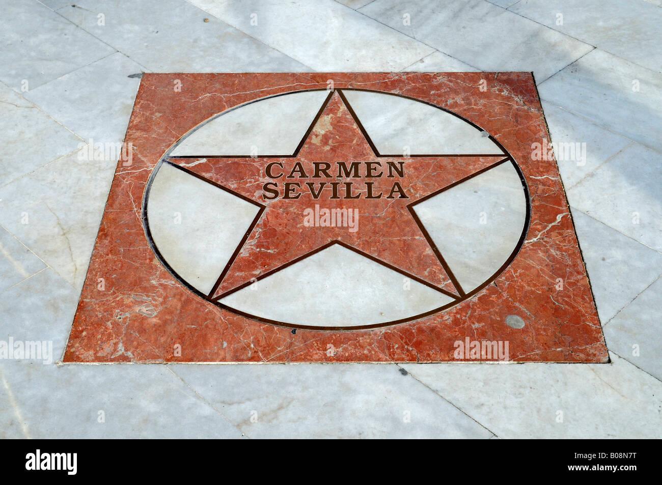 Actress Carmen Sevilla's star on the El Paseo de Estrellas, Promenade of the Stars, Albir, Alicante, Costa Blanca, - Stock Image