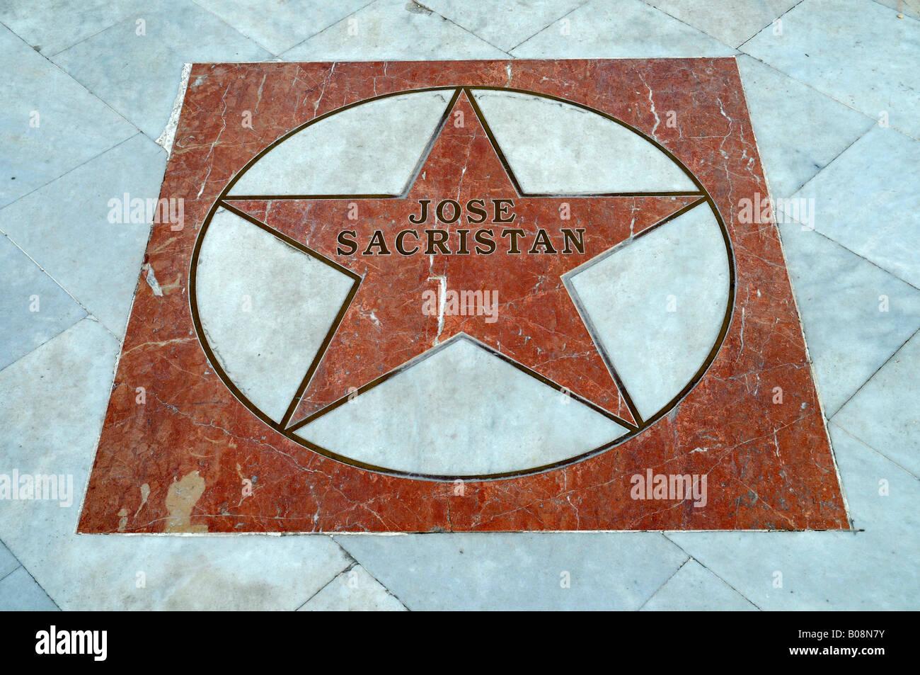 Actor Jose Sacristan's star on the El Paseo de Estrellas, Promenade of the Stars, Albir, Alicante, Costa Blanca, - Stock Image
