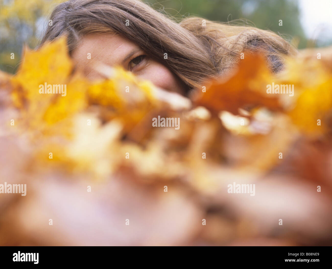 Woman amid autumn leaves - Stock Image