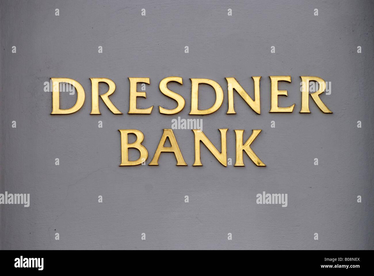Dresdner Bank, written in golden letters - Stock Image