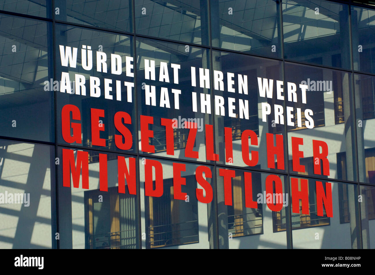 Slogan written on the main entrance of the Ver.di building, federal state administration, 'Wuerde hat ihren - Stock Image